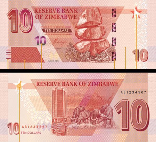 10 dolárov Zimbabwe 2020 P101