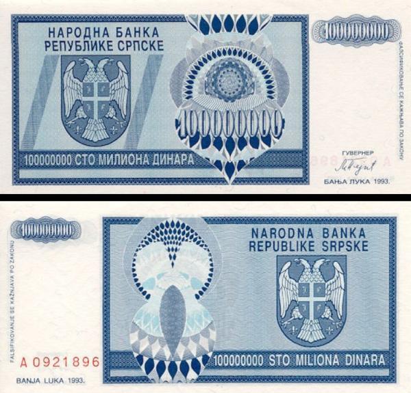 100 milónov dinárov Bosna a Hercegovina 1993, P146a
