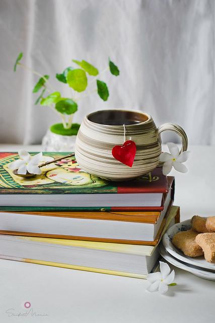 I see books. I see tea. I see a good day ahead.
