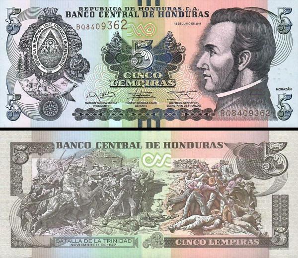 5 Lempiras Honduras 2014 (2017) P98b