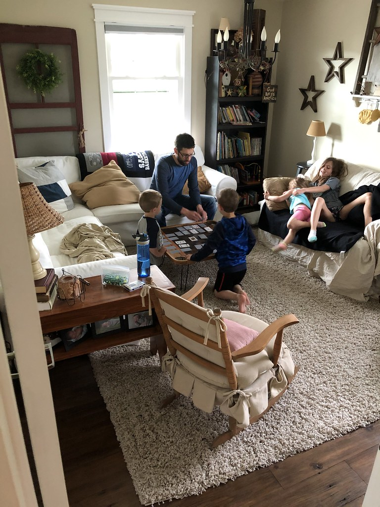 family game night in the den