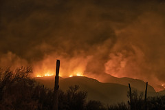 Bighorn fire in Tucson AZ foothills by eliot photos