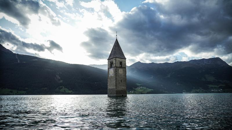 The bell tower in the lake