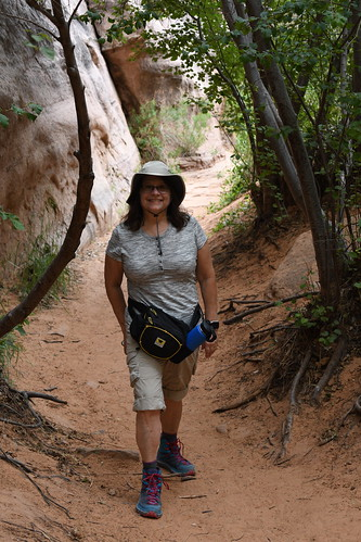 Sandy at Grandstaff Canyon Trail. From History Comes Alive on Moab's Hiking Trails