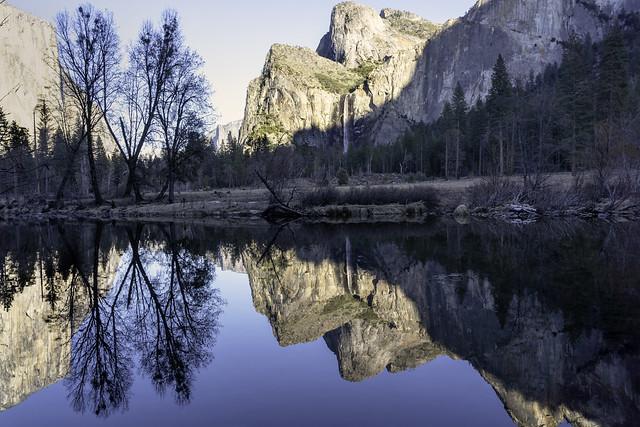 El Capitan with Bridal Veil Falls and Reflections