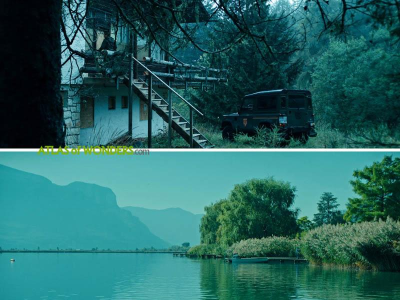 Reschensee lake and the house in the forest
