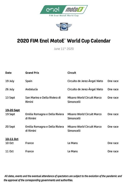 MotoE Calendar 2020