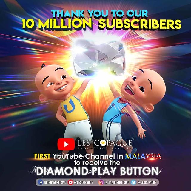 Tahniah! Les' Copaque Muncul Saluran YouTube Pertama Malaysia Terima Diamond Play Button