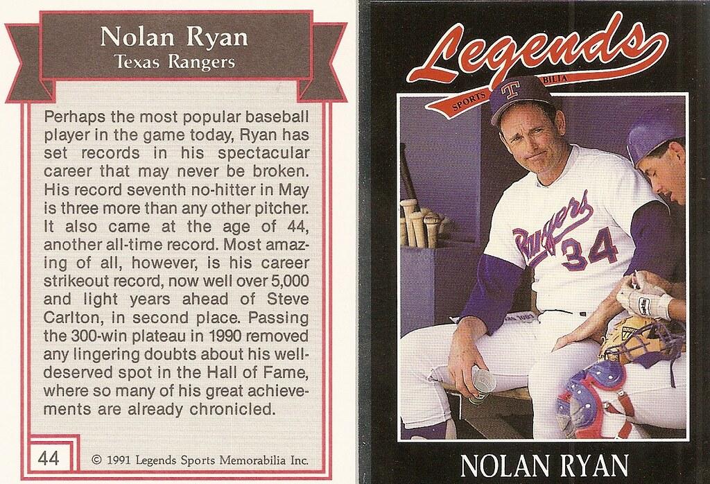 1991 Legends Magazine Insert Silver - Ryan, Nolan