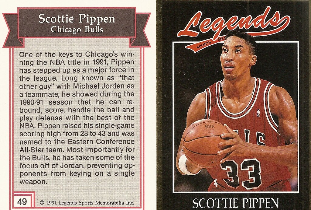 1991 Legends Magazine Insert Gold - Pippen, Scottie