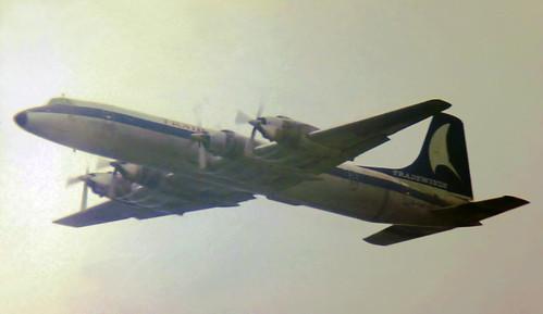 tradewindsairways cl44 canadair cl44d41 gawdk london gatwick 1978