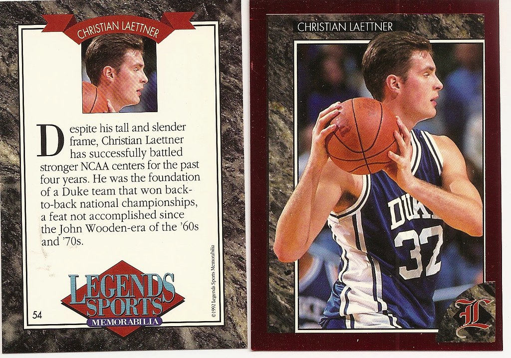 1992 Legends Magazine Insert Red - Laettner