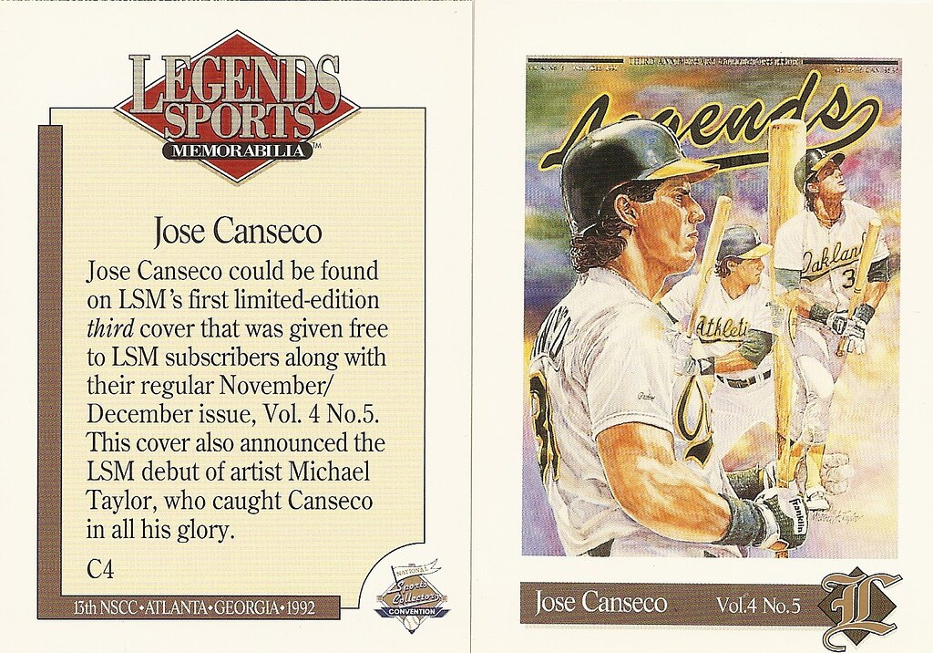 1992 Legends Magazine Insert National - Canseco, Jose
