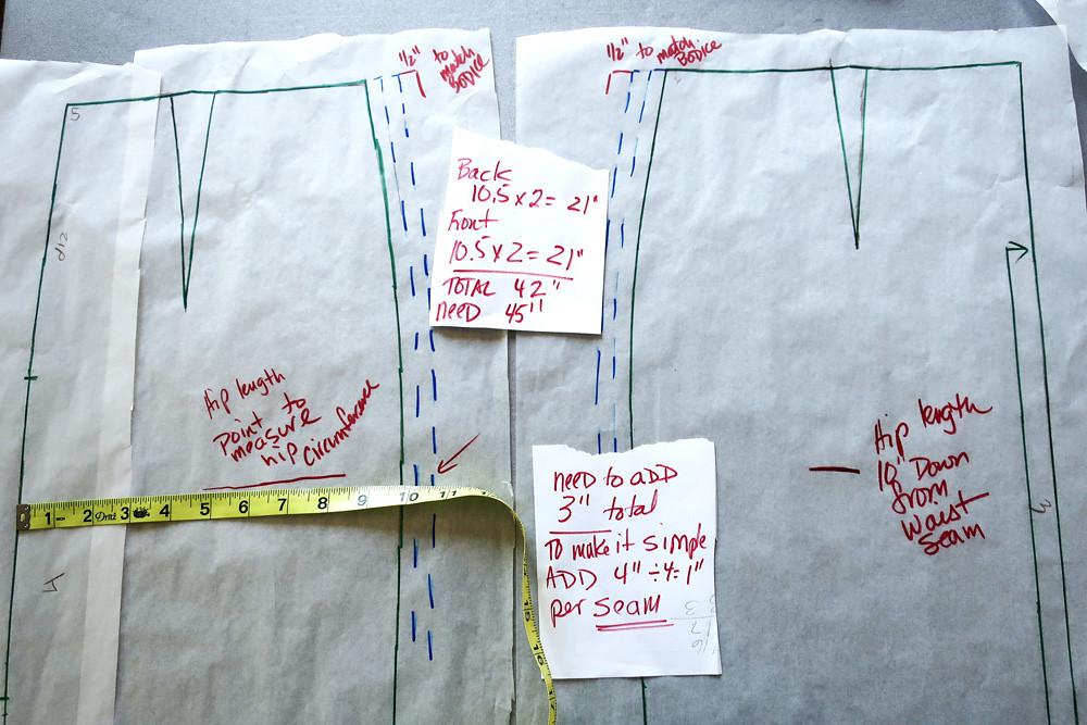Burda skirt pattern adjustments