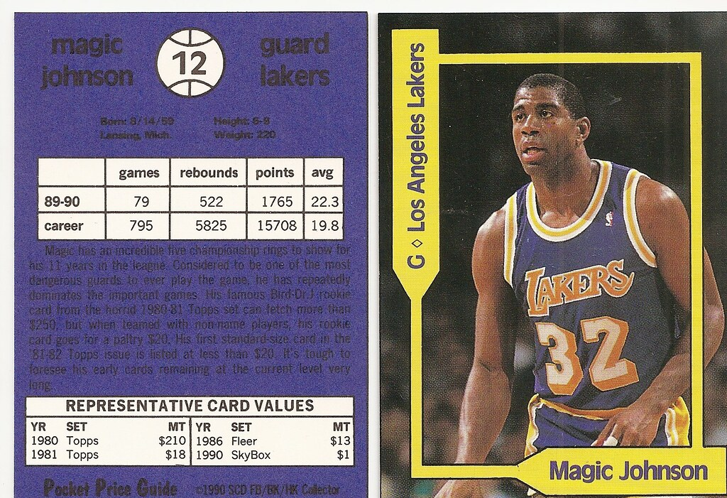 1990 SCD Pocket Price Guide FB-BK-HK - Johnson, Magic
