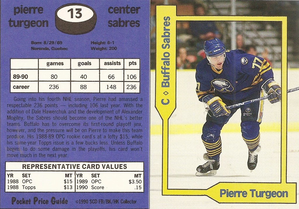 1990 SCD Pocket Price Guide FB-BK-HK - Turgeon, Pierre