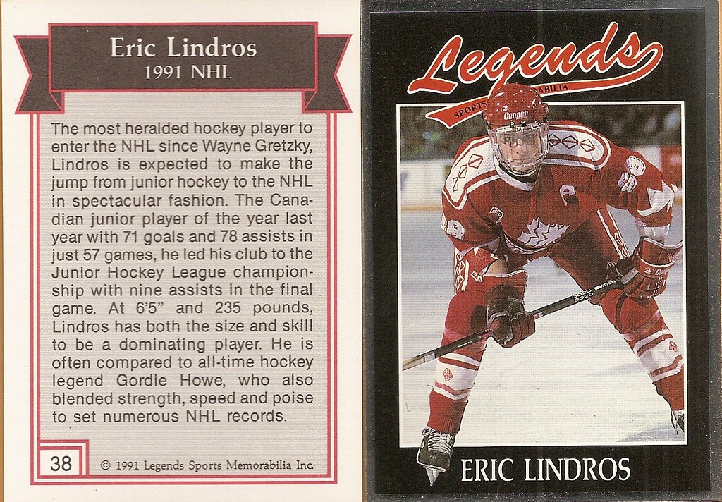 1991 Legends Magazine Insert Silver - Lindros, Eric