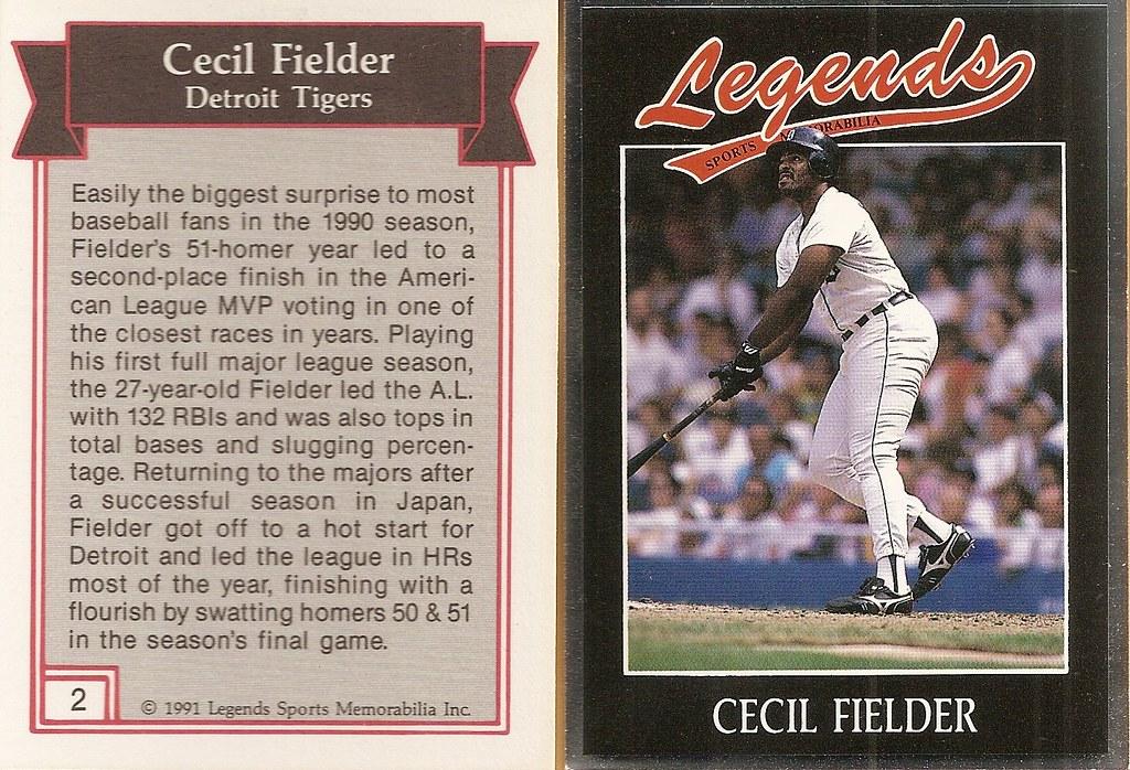 1991 Legends Magazine Insert Silver - Fielder, Cecil