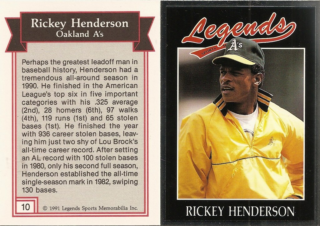 1991 Legends Magazine Insert Silver - Henderson, Rickey