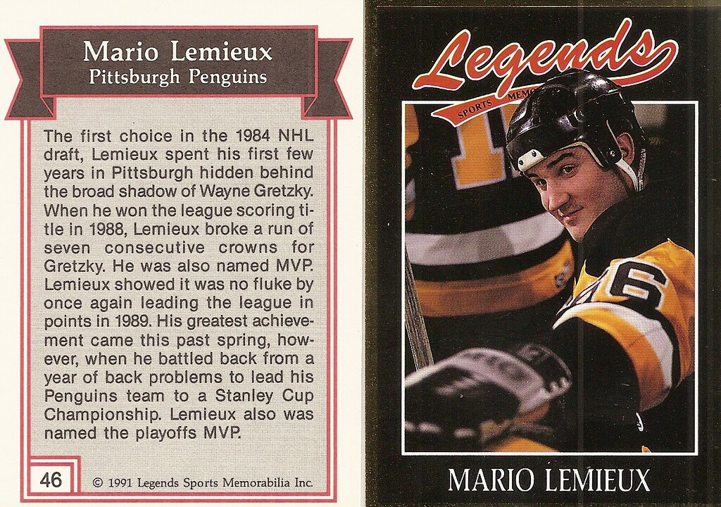 1991 Legends Magazine Insert Gold - Lemieux, Mario