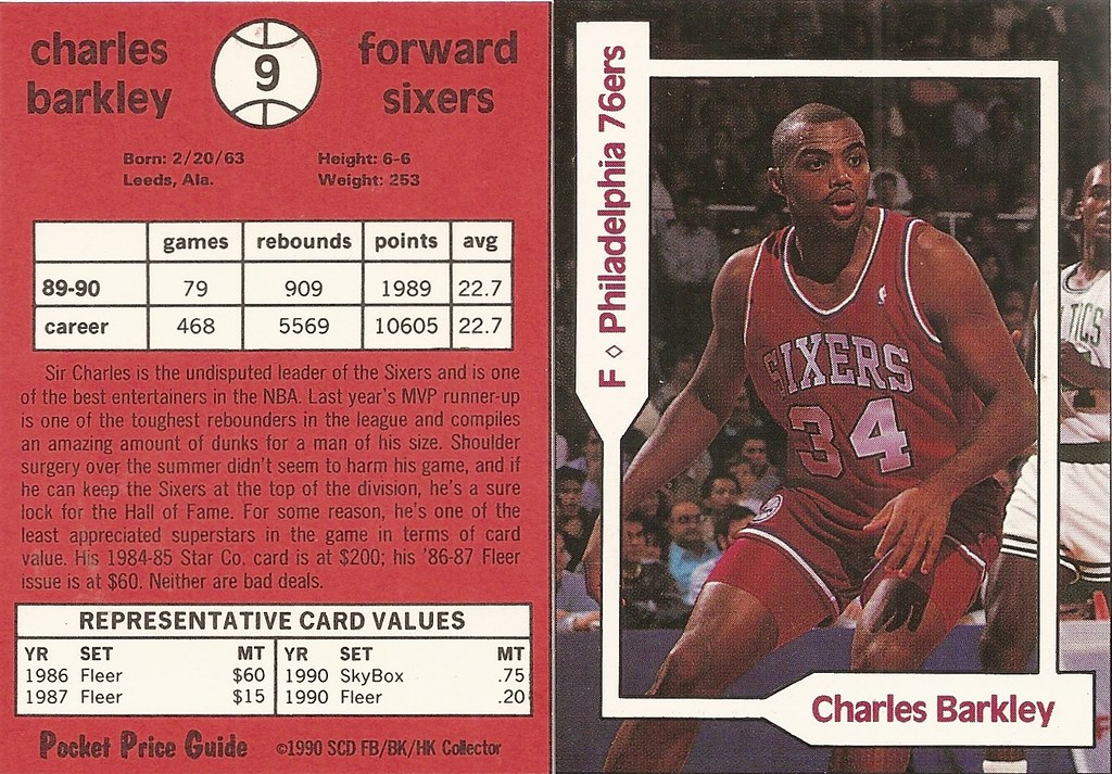 1990 SCD Pocket Price Guide FB-BK-HK - Barkley, Charles
