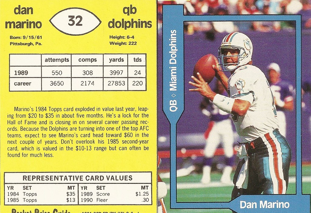 1991 SCD Pocket Price Guide FB-BK-HK - Marino, Dan