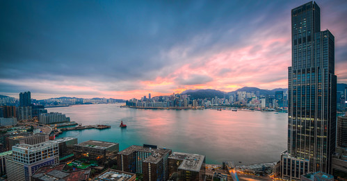 china hk hongkong city hdr sunrise buildins d800 nikon nikkor 1424 bay victoria victoriaharbour water sea ocean wide sunup mornng above explore inexplore