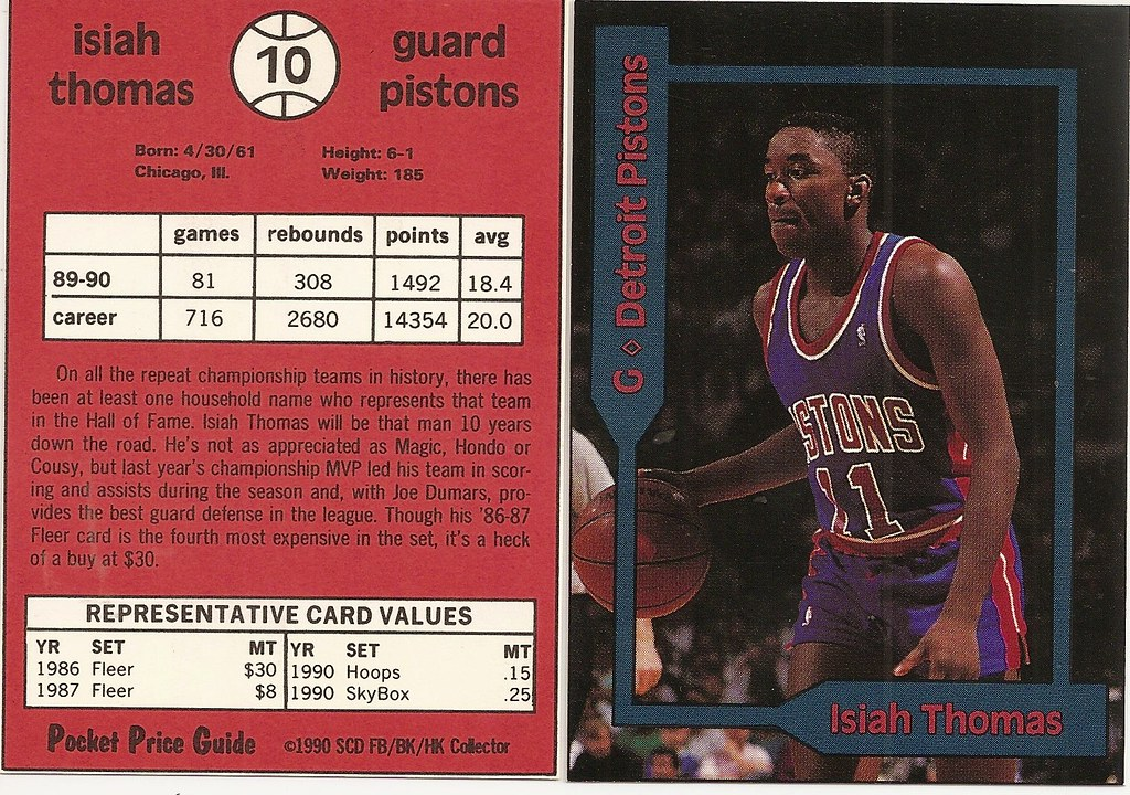 1990 SCD Pocket Price Guide FB-BK-HK - Thomas, Isiah