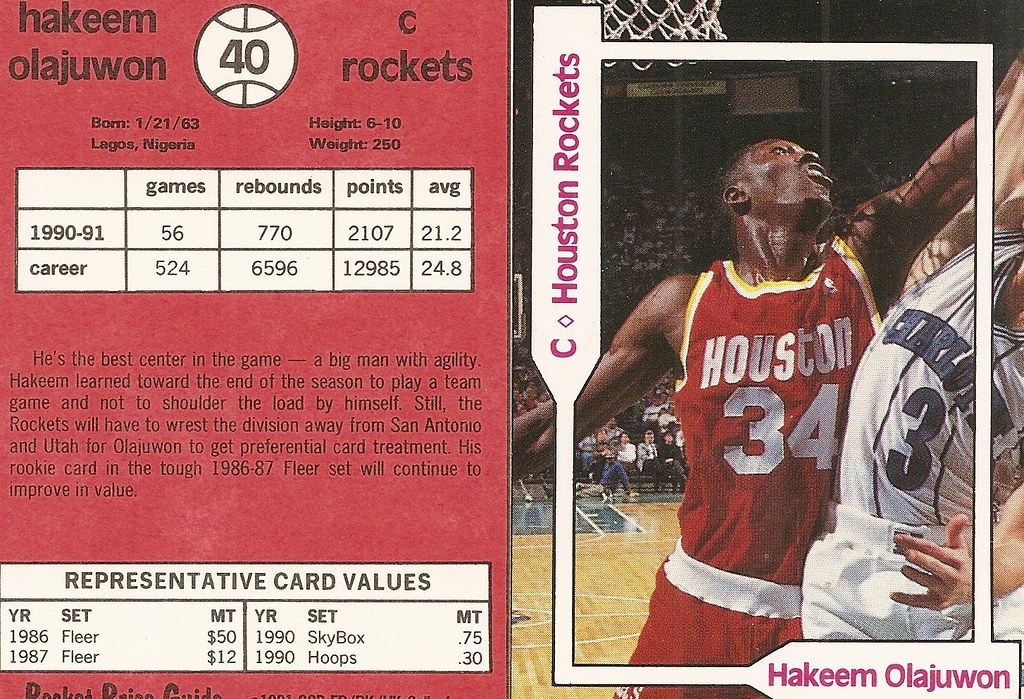 1991 SCD Pocket Price Guide FB-BK-HK - Olajuwon2