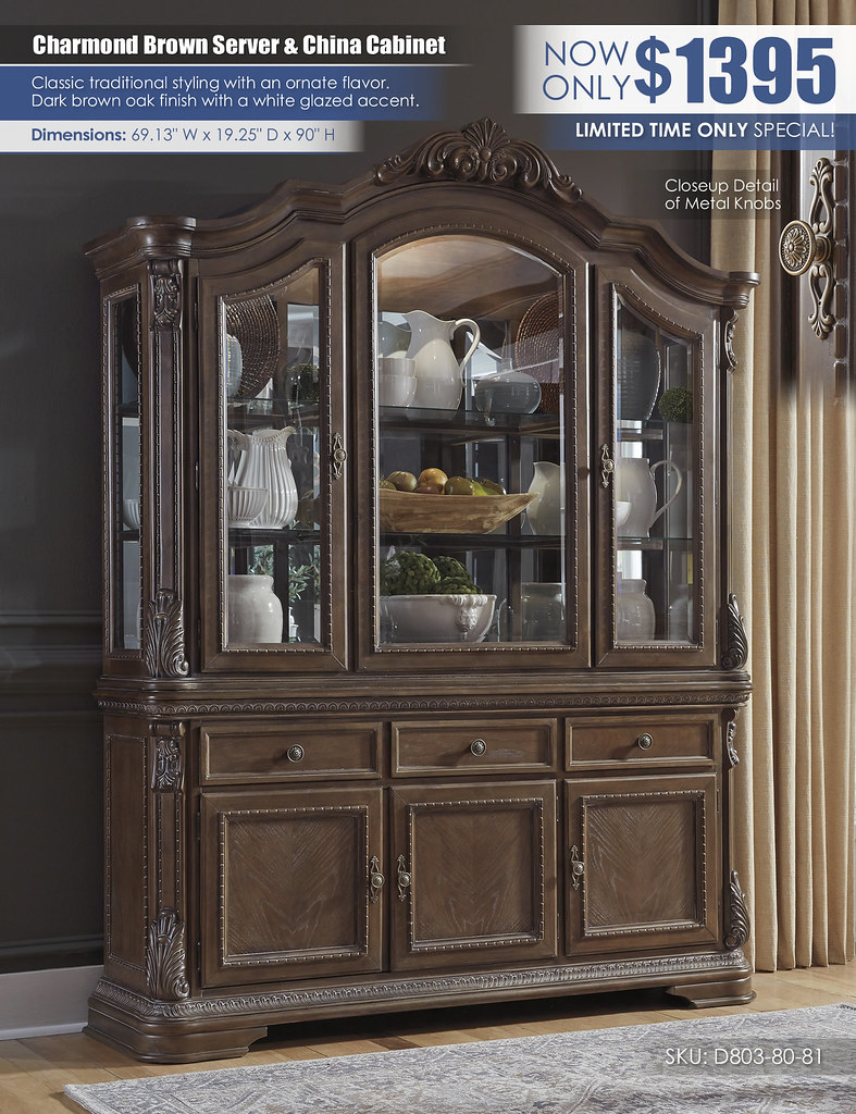 Charmond Brown Dining Server Buffet & China Cabinet_D803-80-81