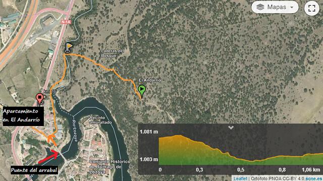 Mapa de la ruta al mirador de Buitrago del Lozoya