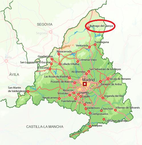 Mapa de situación de Buitrago del Lozoya en la Comunidad de Madrid