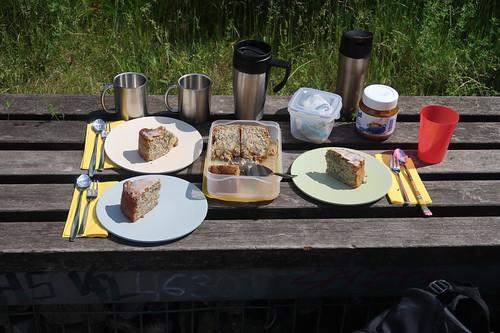 Apfel-Mohn-Kuchen und Kaffee (als Picknick am Tippelsberg in Bochum)