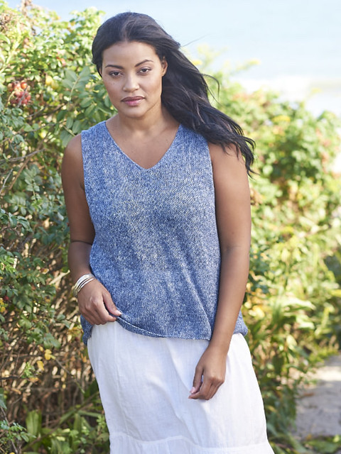 Newbury is a Berroco pattern designed by Amy Palmer that is an a-line tee with lace on the upper back!