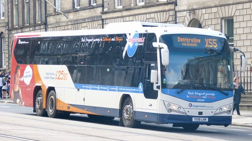 YX18 LHR 'Stagecoach East Scotland' No. 54506 'express city connect'. Volvo B8RLE / Plaxton Panther LE /1 on Dennis Basford's railsroadsrunways.blogspot.co.uk'
