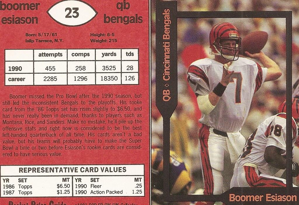 1991 SCD Pocket Price Guide FB-BK-HK - Esiason, Boomer2