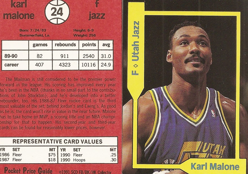 1991 SCD Pocket Price Guide FB-BK-HK - Malone, Karl2