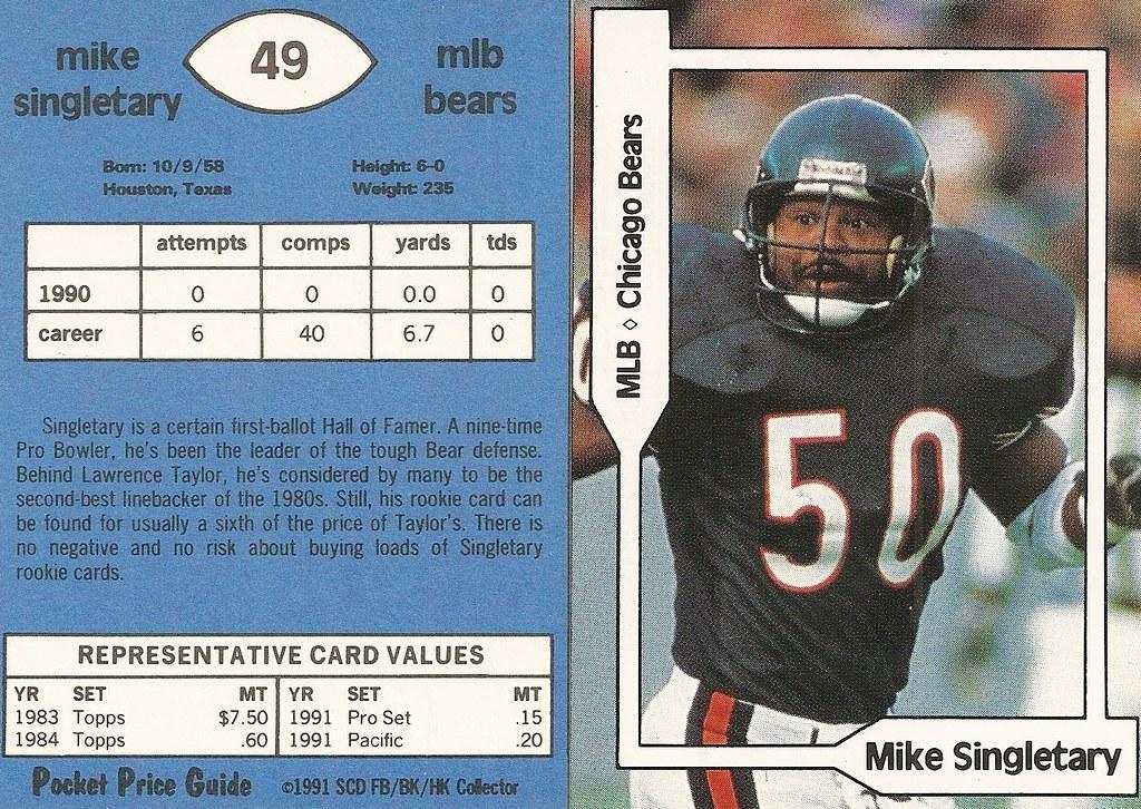 1991 SCD Pocket Price Guide FB-BK-HK - Singletary, Mike2