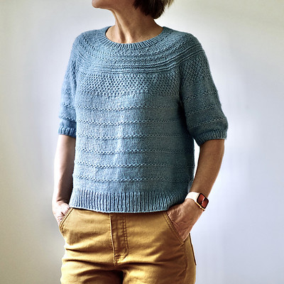 Purl Strings by Heidi Kirrmaier is knit  topdown that is full of textures and includes both elbow and long sleeve instructions!