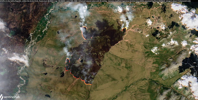 Wildfire in the Sakha Republic, within the Arctic Circle, Russia (Lat: 68.85051, Lng: 139.06803) - June 12th, 2020