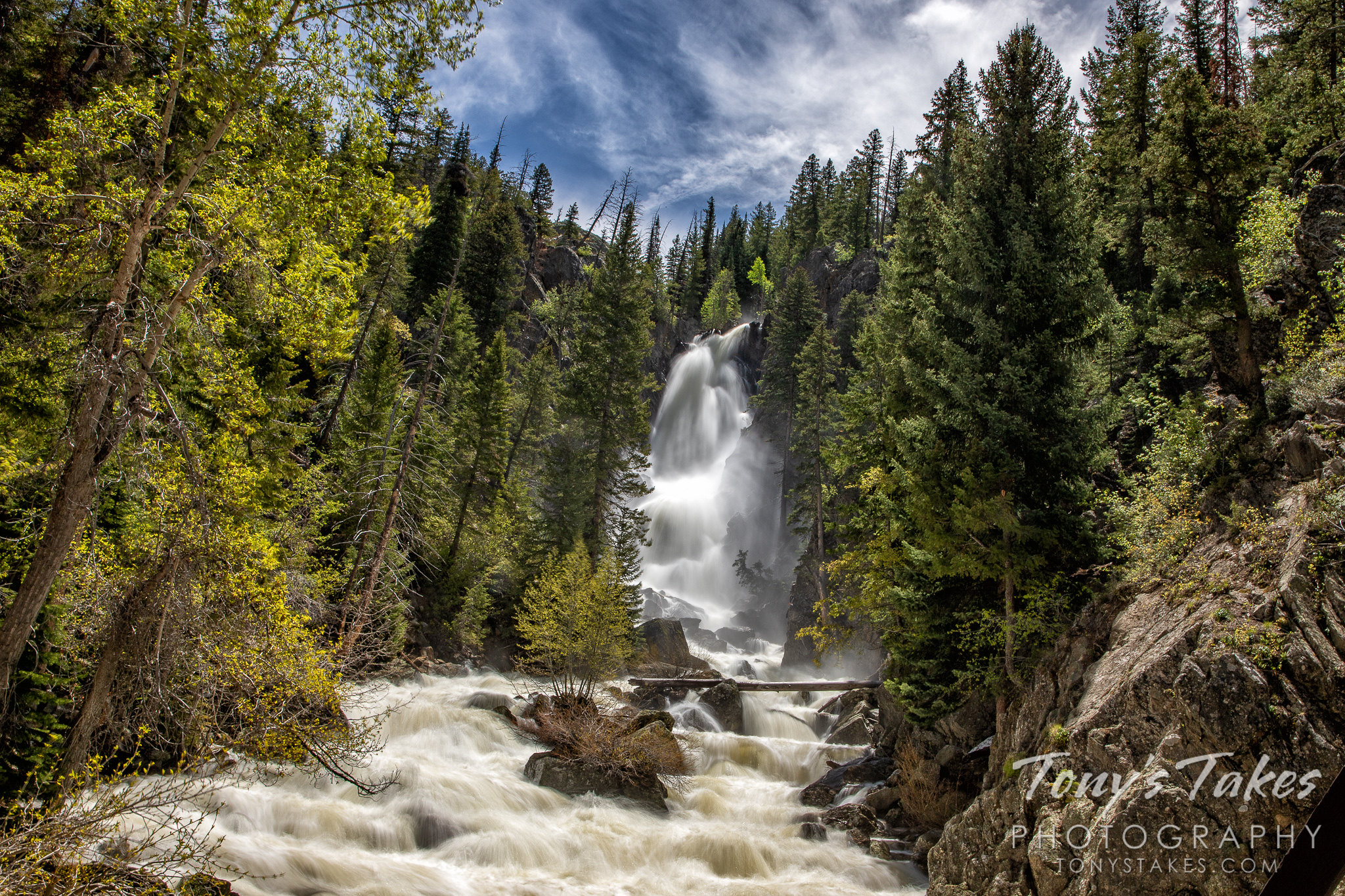 Fish Creek Falls near Steamboat Springs, Colorado roars with a strong spring run-off. (© Tony's Takes)