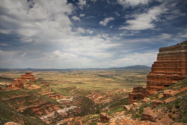 Sierra de Armantes, clay earth mounds, in Spain