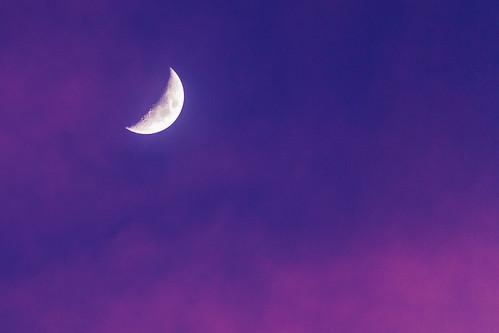 moon crescent sunset blue purple clouds sky outdoors outside pentax pentaxk7