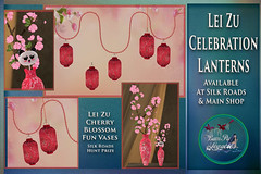 Lei Zu Celebration Lanterns & Cherry Blossom Vases