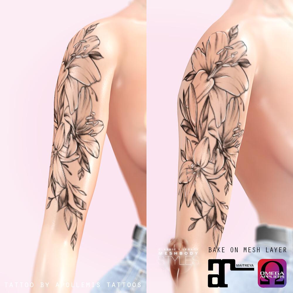 APOLLEMIS Tattoos – Shoulder Lilies