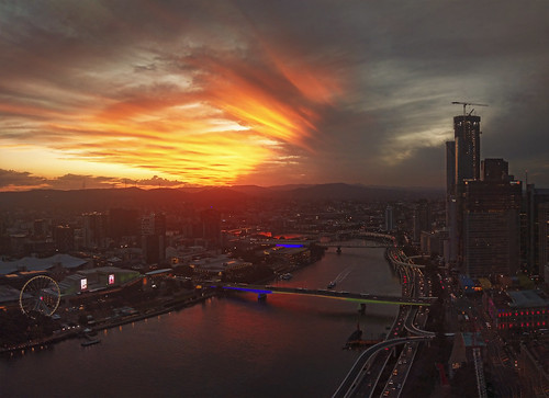 city sunset brisbane river cityscape landscape queensland winter light sky orange