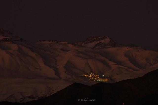 Ski resort at night/dusk, la Parva, The Andes