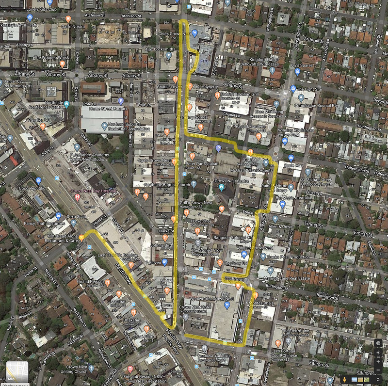 Crows Nest shops walk map