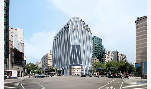 潘冀聯合建築師事務所設計的上海商銀新總行大樓,外型以鑽石作為意象,高貴堅硬的形象對於金融業來說,是極佳的說服點(圖片取自JJPAN網站)
