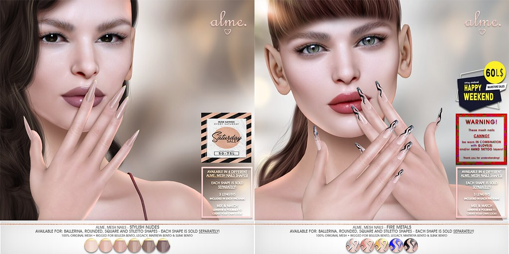 "ALME Weekend Sales – ""Alme Mesh Nails// Stylish Nudes & Fire Metals"" in 4 shapes (For TSS & HW60L$)"